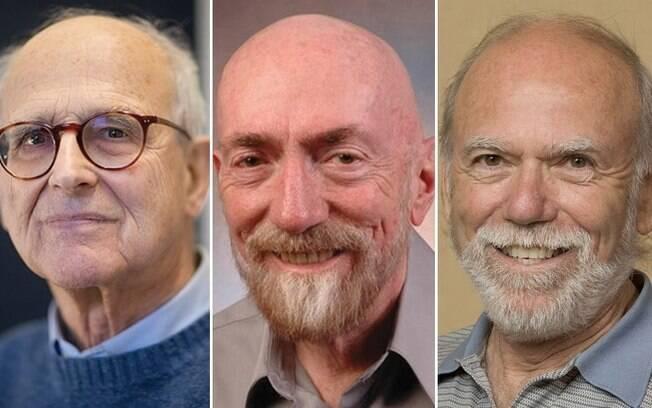 Rainer Weiss (esq.), Kip Thorne (centro) e Barry Barish (dir.) são os vencedores do Nobel de Física de 2017
