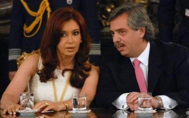 Cristina Kirchner ao lado do candidato à Presidência da Argentina, Alberto Fernández