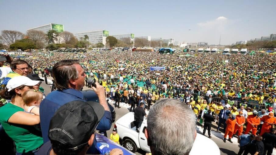 Bolsonaro em discurso na manhã da última terça-feira, dia 7 de setembro