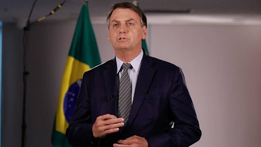 Presidente Jair Bolsonaro (sem partido) durante pronunciamento em rede nacional de rádio e TV
