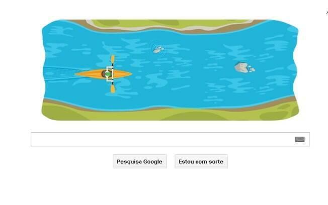 Canoagem ganhou joguinho na home do Google