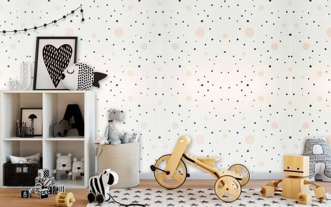 Decoração de quarto de criança com papel de parede fofo