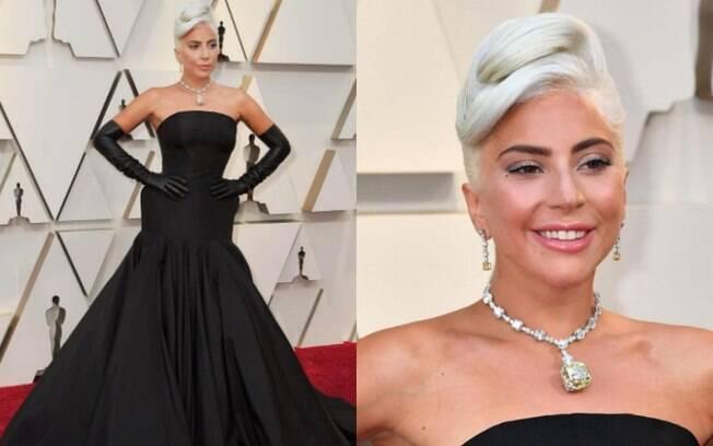 Looks das famosas: Lady Gaga usou um colar estimado em US$ 30 milhões que só havia sido usado por Audrey Hepburn