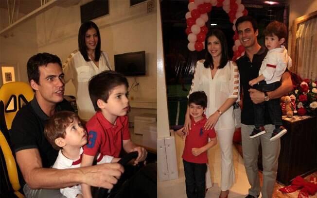 Carlos Casagrande com mulher e filhos em festa nesta terça-feira (6)