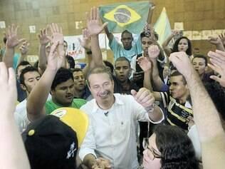 Palco. No seminário do PPL, partido nacionalista de esquerda, Campos ouviu palavras de ordem contra o modelo de concessão do pré-sal