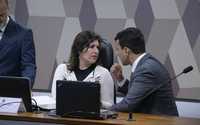 A presidente da CCJ, senadora Simone Tebet (MDB-MS) e o senador Irajá (PSD-TO)