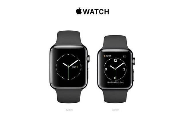 8b96a5bf229 Foto  Divulgação Apple. Modelo com caixa preta de aço inoxidável e pulseira  esportiva preta. Foto  Divulgação