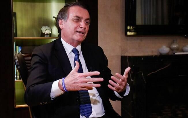 Presidente da República, Jair Bolsonaro, durante entrevista à TV Record, no hotel King David, em Israel