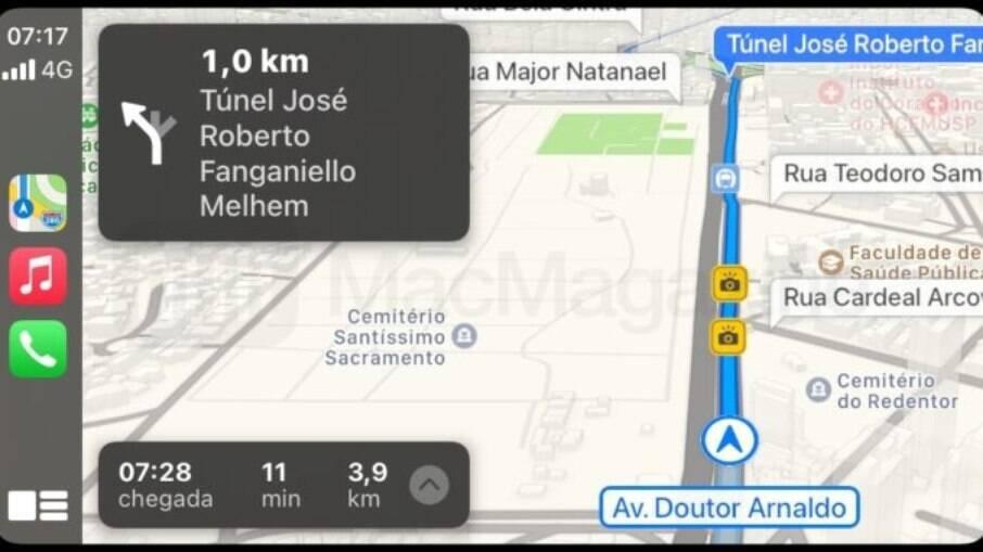 Radares aparecem em amarelo no Apple Maps