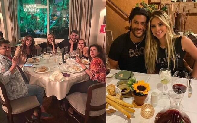 Iran Ângelo janta com Nicole Bahls e Hulk com Camila Ângelo, ambos em São Paulo