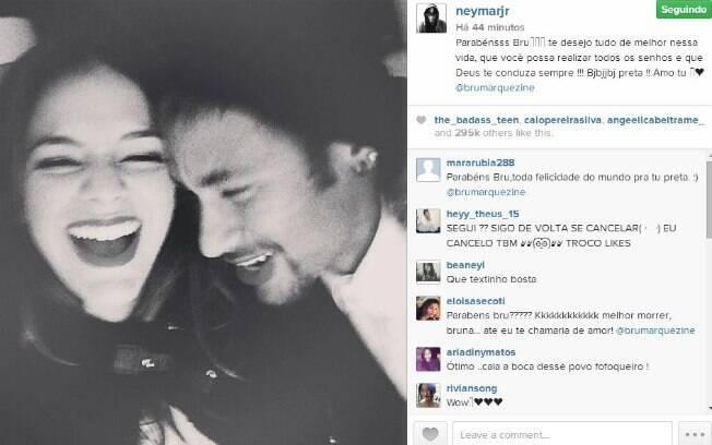 Neymar publicou foto com Bruna em seu perfil e mandou mensagem de parabéns para a atriz