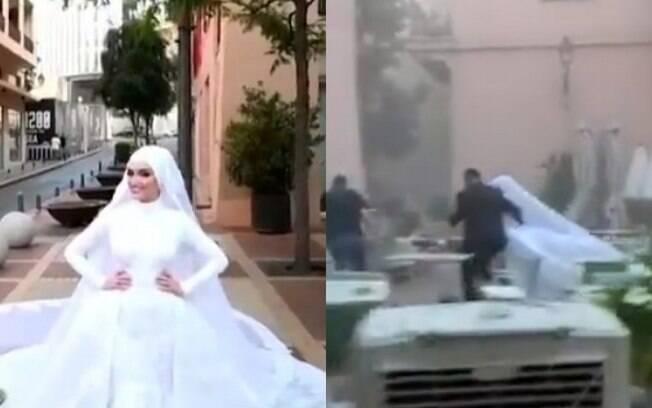 Noiva faz ensaio durante explosão