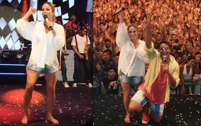 Claudia Leitte ficou descalça no palco
