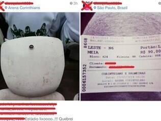 Torcedores do Palmeiras postaram fotos das cadeiras quebradas no Itaquerão em redes sociais