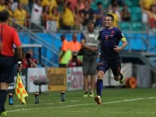 Van Persie comemora o gol de empate contra a Espanha