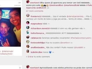 Por meio de uma rede social, Everton Ribeiro postou momento da disputa com os colegas de elenco