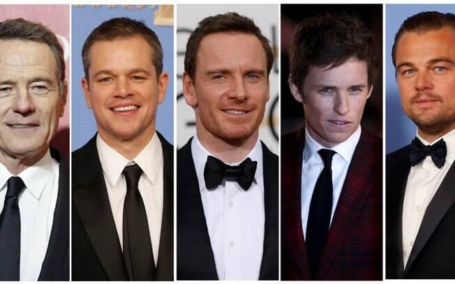 Da esquerda para a direita: Bryan Cranston, Matt Damon, Michael Fassbender, Eddie Redmayne e Leonardo DiCaprio