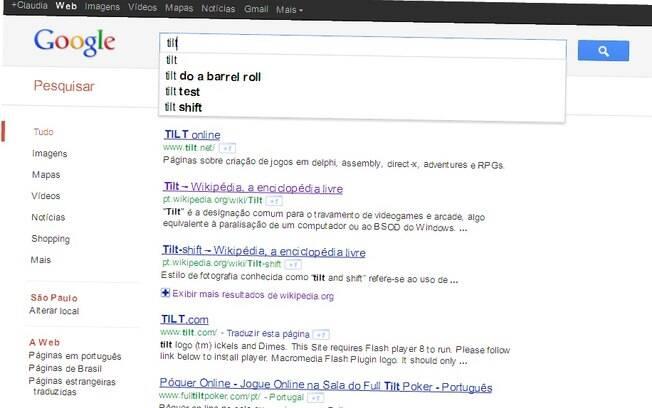 Digitar Tilt na página de busca do Google faz página