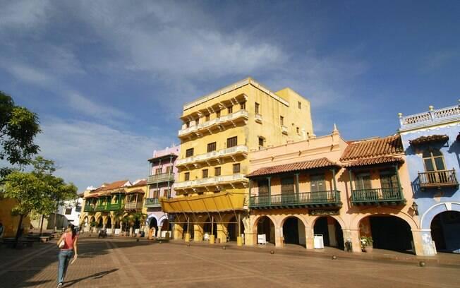 Prédios coloniais do charmoso centro histórico de Cartagena