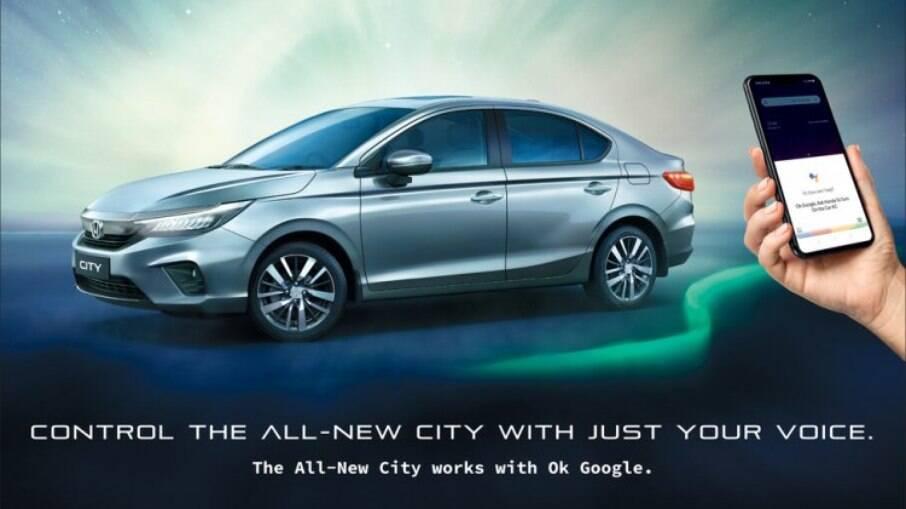 Anúncio do Honda City com novo sistema Google Assistance