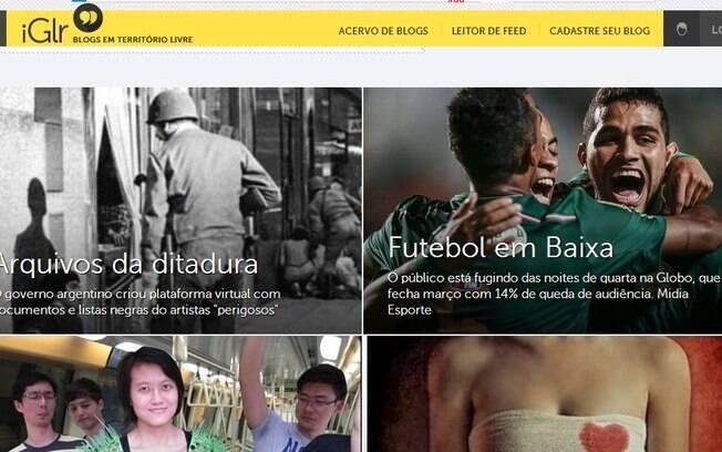 Home do iGlr, livre território de blogs que estreia com mais de 500 blogs cadastrados