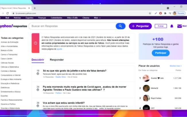 Yahoo Respostas será apagado da internet em maio de 2021