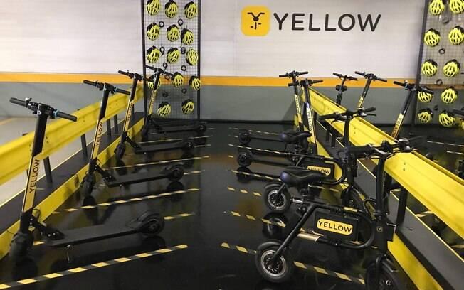 Os patinetes elétricos da Yellow podem ser deixados, após a viagem, em qualquer estação