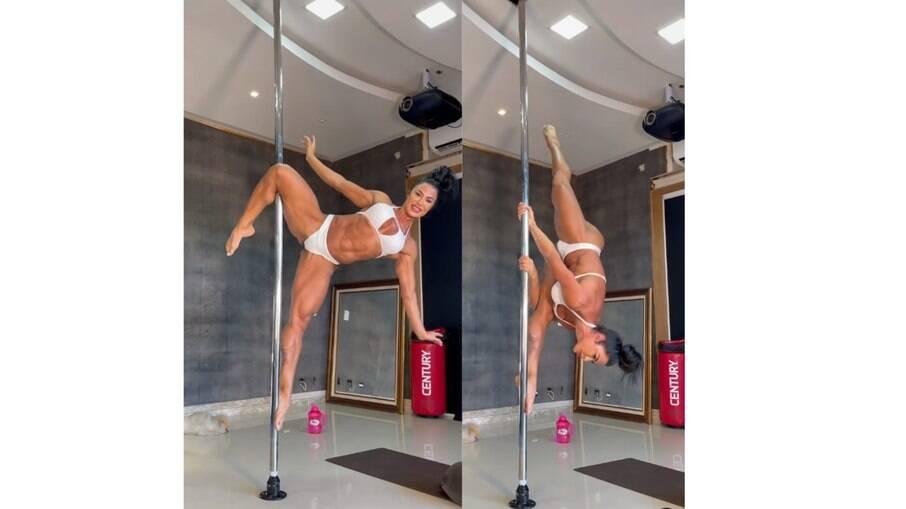 Gracyanne Barbosa faz pole dance