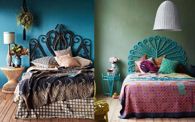 A cor da parede compõe perfeitamente com a cabeceira rebuscada, trazendo um ar romântico e contemporâneo