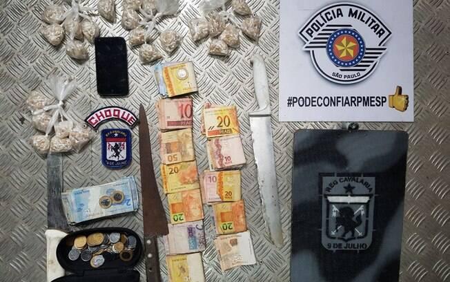 Material apreendido pela Cavalaria da PM na região central de São Paulo