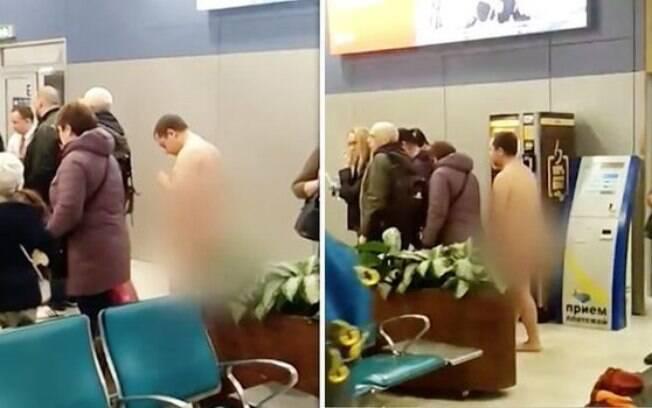 Este homem nu queria voar sem roupas porque elas atrapalhavam sua aerodinâmica, mas a polícia conseguiu prendê-lo