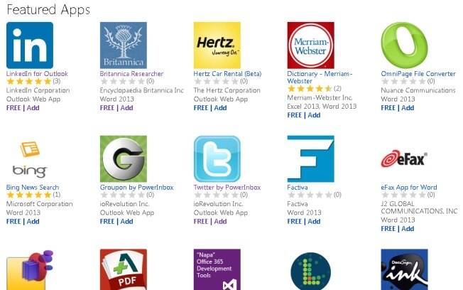 Loja de aplicativos do Office 2013 já tem aplicativos de redes sociais e de busca