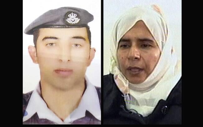 O piloto Moaz al-Kasaesbeh em montagem ao lado da terrorista iraquiana Sajida al-Rishawi