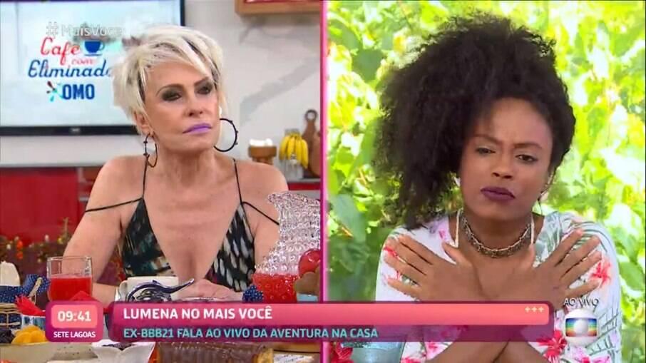 Lumena disse que tentou não falar sobre o assunto, mas que a relação com Carla a deixou desconfortável