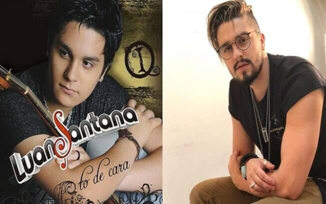 Esquerda: capa do primeiro CD de Luan Santana em 2008. Direita: foto publicada recentemente em seu Instagram