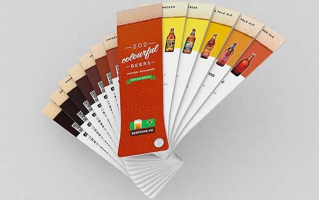 Beertone Brasil vem no formato de um copo e conta com informações de 202 rótulos