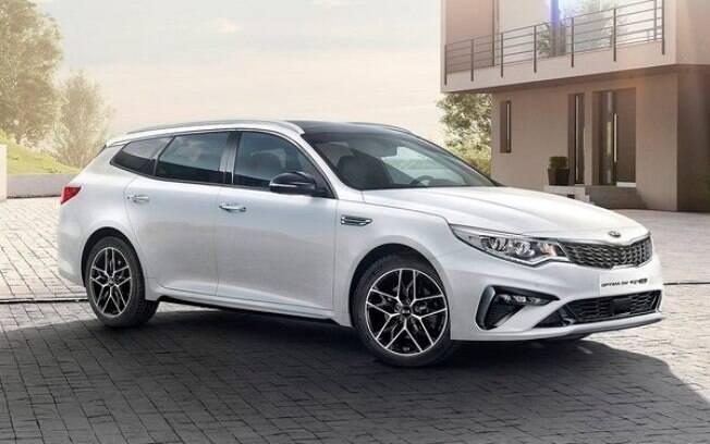 A Kia Optima  SportsWagon 2019 foi redesenhada com nova frente e tem novos motores a gasolina e diesel