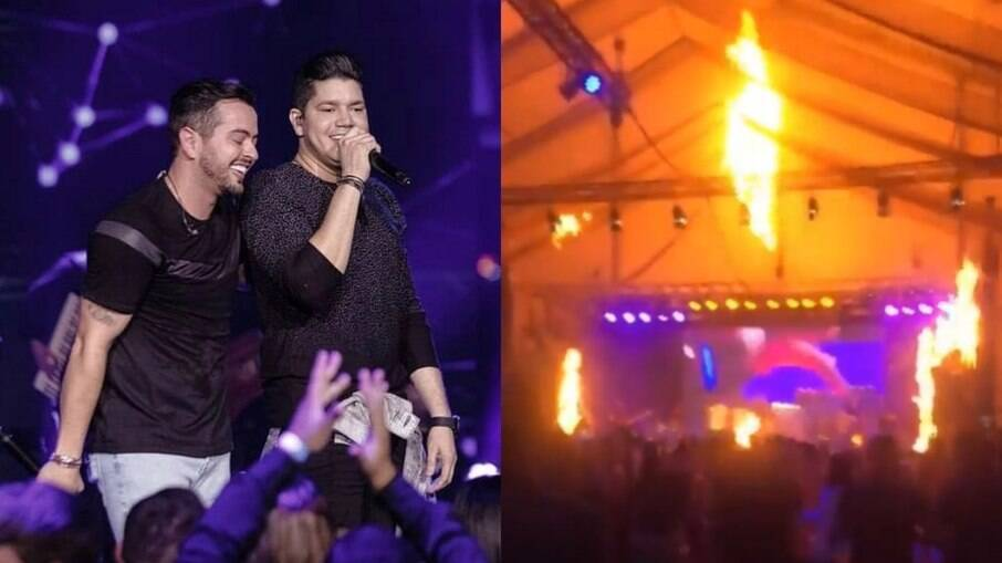 Palco pega fogo durante show de Henrique e Diego