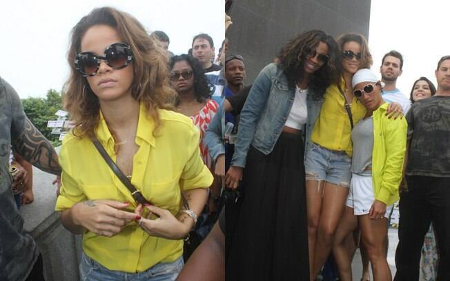 Rihanna visitou o Cristo Redentor na tarde desta quinta-feira (22)