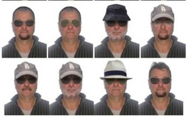 Polícia Federal divulgou possíveis disfarces do terrorista italiano Cesari Battisti considerado foragido no Brasil. Aparência real do terrorista era bem parecida com o último retrato divulgado