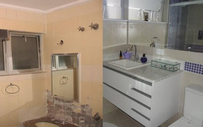 Com revestimentos antigos, o banheiro tinha ar triste. Após a reforma, mais luminosidade e vida