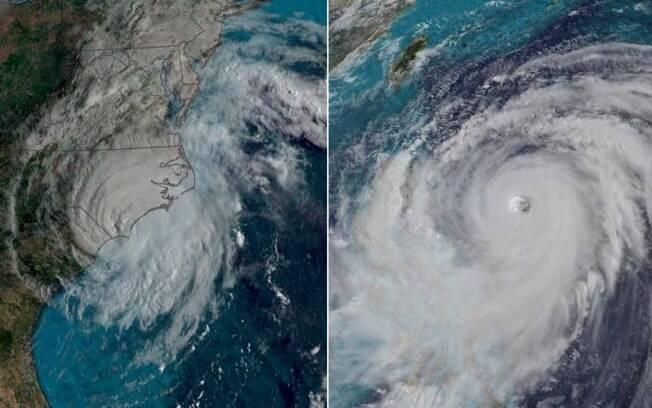 Tufão  será mais forte que furacão Florence, que atinge os EUA nesta sexta; na imagem, os dois em comparação
