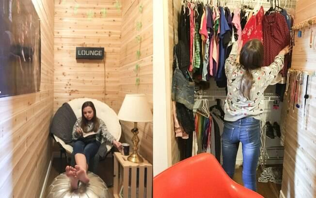 Menina usa o closet não só para guardar suas roupas, mas também para ler, conversar com amigos e assistir vídeos