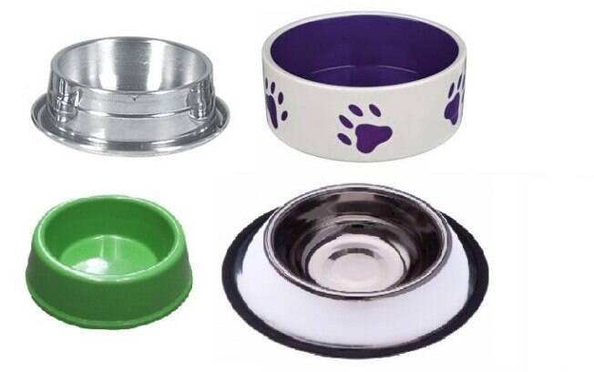 Há quatro tipos de comedouro: de alumínio, cerâmica, plástico e aço inoxidável
