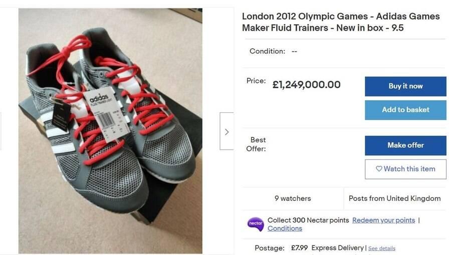 Tênis vai a leilão por R$ 9,11 milhões no eBay
