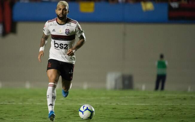 Gabigol em ação pelo Flamengo contra o Goiás