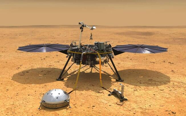Impressão artística da sonda InSight perfurando a superfície de Marte.