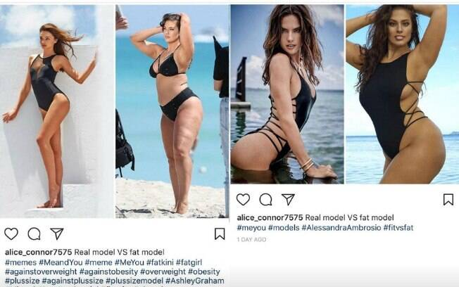 Internauta compara Ashley Graham com modelos magras, afirmando que a modelo plus size não é