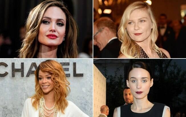 Em sentido horário: Angelina Jolie é um exemplo de beleza colérica. Kirsten Dunst é fleumática. Rooney Mara é melancólica, e Rihanna é sanguínea. Com qual você se identifica mais?