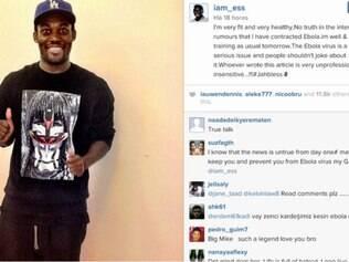 Através das redes sociais,  o jogador negou ter contraído o vírus Ebola